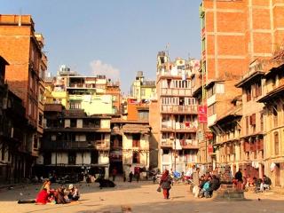 Népal - Katmandou : scène de place