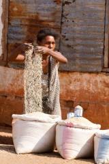 Madagascar - route de l'Ouest : vendeuse de riz