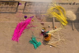 Inde - Varanasi : atelier vanerie